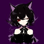 1girl ;q absurdres animal_ears artist_name bangs bare_shoulders black_bow black_choker black_dress black_hair black_neckwear bow bowtie cat_ears choker commentary crescent cropped_torso dress eyelashes hair_between_eyes head_tilt heart highres looking_at_viewer off-shoulder_dress off_shoulder one_eye_closed original purple_background red_eyes revision sheya short_hair signature simple_background smile solo tongue tongue_out upper_body