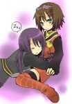 1boy 1girl bad_id bad_pixiv_id black_hair bob_cut brown_hair goggles green_eyes hinazaki rita_mordio sleeping tales_of_(series) tales_of_vesperia thighhighs yuri_lowell