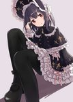 absurdres black_hair black_legwear capelet commentary eluthel frilled_hat frilled_skirt frills gothic_lolita hat highres idolmaster idolmaster_shiny_colors lolita_fashion looking_at_viewer mary_janes medium_hair morino_rinze pantyhose red_eyes shoes sitting skirt