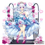 bare_shoulders blue_bow blue_dress bow breasts bridal_veil copyright_name dmm dress flower gloves heart long_hair nonno official_art pink_footwear purple_eyes silver_hair skirt_hold small_breasts sparkle standing thigh_strap tiara tokinon veil watermark white_gloves x-overd