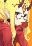 1girl absurdres alternate_costume bespectacled black-framed_eyewear blonde_hair blush casual clothes_writing commentary_request earrings facial_mark fang_out fate/grand_order fate_(series) food food_in_mouth forehead_mark from_side glasses gloves highres hood hood_down hoodie horns ibaraki_douji_(fate/grand_order) jewelry long_hair long_sleeves looking_at_viewer looking_to_the_side mouth_hold nakasaku-p orange_background pocky pointy_ears ponytail red_gloves sidelocks simple_background solo upper_body yellow_eyes