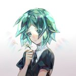 1other androgynous colored_eyelashes commentary_request crystal_hair flower gem_uniform_(houseki_no_kuni) green_eyes green_hair houseki_no_kuni necktie phosphophyllite sad short_hair solo upper_body yexing_huidou