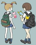 2girls backpack bag bag_charm bangs blonde_hair blunt_bangs brown_hair cellphone charm_(object) collared_shirt crossed_legs cup drinking drinking_glass drinking_straw eyelashes facing_away holding holding_drinking_glass multiple_girls original phone pigeon-toed pleated_skirt product_placement shirimoto shirt short_hair simple_background skirt sleeves_rolled_up socks sprinkles texting twintails whipped_cream