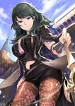 1girl armor bangs black_hair black_shorts blue_sky breasts byleth byleth_(female) cloud cloudy_sky commentary_request day eyebrows_visible_through_hair fire_emblem fire_emblem:_fuukasetsugetsu highres jacket_on_shoulders large_breasts long_hair looking_at_viewer midriff_cutout nakabayashi_zun navel outdoors pantyhose parted_lips shorts shoulder_armor sky smile solo sword turtleneck weapon