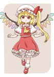1girl ascot bangs blonde_hair bloomers blush bobby_socks bow collar collared_shirt crystal eyebrows_visible_through_hair flandre_scarlet frilled_collar frilled_shirt frilled_shirt_collar frilled_skirt frilled_sleeves frills full_body hat hat_bow hat_ribbon looking_at_viewer mary_janes mob_cap petticoat poronegi puffy_short_sleeves puffy_sleeves red_bow red_eyes red_ribbon red_skirt red_vest ribbon shirt shoes short_hair short_sleeves side_ponytail skirt skirt_set smile socks solo standing standing_on_one_leg touhou underwear vest white_hat white_shirt wings yellow_neckwear