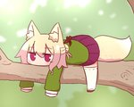 1girl animal_ear_fluff animal_ears bangs blonde_hair blurry blurry_background blush brown_footwear closed_mouth commentary_request day depth_of_field eyebrows_visible_through_hair fox_ears fox_girl fox_tail full_body green_shirt hair_between_eyes hair_bun hair_ornament highres in_tree kemomimi-chan_(naga_u) long_hair long_sleeves lying naga_u on_stomach original outdoors pleated_skirt purple_skirt red_eyes ribbon-trimmed_legwear ribbon_trim shirt sidelocks skirt sleeves_past_fingers sleeves_past_wrists solo tail thighhighs tree tree_branch white_legwear