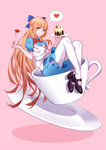 1girl apron blue_dress bow braid breasts brown_eyes brown_hair cake cup dress eyeliner food fork french_braid fruit full_body hair_bow heart highres in_container in_cup long_hair makeup mary_janes minigirl pantyhose pink_background puffy_short_sleeves puffy_sleeves quan_zhi_gao_shou shoes short_sleeves small_breasts smile solo spoken_heart strawberry su_mucheng teacup very_long_hair white_legwear zhano_kun