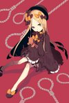 1girl abigail_williams_(fate/grand_order) bangs black_bow black_dress black_hat blonde_hair bloomers blue_eyes bow dress fate/grand_order fate_(series) frilled_dress frills full_body hair_bow hat highres holding holding_stuffed_animal knees_together_feet_apart long_hair looking_at_viewer miitarou noose parted_bangs parted_lips polka_dot polka_dot_bow red_background sitting sleeves_past_wrists slippers solo stuffed_animal stuffed_toy teddy_bear underwear very_long_hair wide_sleeves yellow_bow