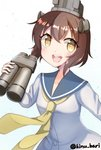 1girl binoculars blue_sailor_collar brown_eyes brown_hair commentary_request cowboy_shot dress headgear headset kantai_collection kinubari_nerune looking_at_viewer neckerchief open_mouth round_teeth sailor_collar sailor_dress short_hair simple_background smile solo speaking_tube_headset teeth twitter_username upper_teeth white_background yellow_neckwear yukikaze_(kantai_collection)