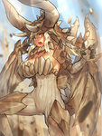 1girl blonde_hair blurry bodysuit boots breasts collarbone commentary_request covered_navel day depth_of_field diablos dragon_girl dragon_horns dragon_tail dragon_wings from_side highres horns large_breasts looking_to_the_side melon22 monster_hunter open_mouth personification ribbed_bodysuit rock solo spikes tail thigh_boots thighhighs wings yellow_eyes