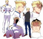 anger_vein bad_id bad_twitter_id blonde_hair closed_eyes closed_mouth expressions formal gloves highres kray_foresight labcoat male_focus pants pectorals pro_ur_sumi promare red_eyes shaded_face short_hair smile suit turtleneck white_gloves