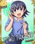 1girl azumanga_daiou blue_eyes blue_hair card_(medium) card_parody character_name cinderella_girls_card_parody idolmaster idolmaster_cinderella_girls looking_at_viewer morichan open_mouth parody pleated_skirt school_uniform skirt solo sun_(symbol) takino_tomo