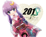 15_(tooka) 1girl alternate_costume alternate_hairstyle arm_up crescent crescent_hair_ornament dragon dress floral_print hair_ornament hair_ribbon hair_up japanese_clothes kimono kotoyoro long_hair new_year obi open_mouth patchouli_knowledge purple_eyes purple_hair red_dress ribbon sash solo touhou translated twintails