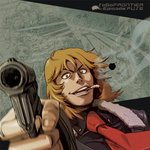 1boy blonde_hair brown_eyes commentary_request eye_contact formal fuse_(saga_frontier) gloves gun hair_between_eyes handgun holding holding_gun holding_weapon long_hair looking_at_another looking_at_viewer male_focus nakajima_hiroshi necktie red_neckwear saga saga_frontier solo suit traditional_media weapon
