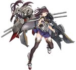 1girl black_gloves black_legwear boots breasts brown_hair fingerless_gloves full_body gloves impossible_clothes impossible_shirt kikumon large_breasts long_hair nagato_(warship_girls_r) official_art pleated_skirt ponytail purple_eyes remodel_(warship_girls_r) rigging shirt skirt solo thighhighs transparent_background turret underbust very_long_hair warship_girls_r zi_se