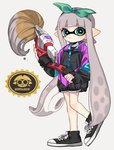 1girl :< aqua_eyes black_footwear black_shorts bukichi_(splatoon) closed_mouth domino_mask full_body green_hairband hairband holding inkbrush_(splatoon) inkling leg_up long_hair long_sleeves looking_at_viewer maco_spl mask pointy_ears shoelaces shoes shorts silver_hair sneakers solo splatoon_(series) splatoon_2 standing standing_on_one_leg suction_cups tentacle_hair very_long_hair zipper zipper_pull_tab