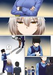 1girl 3boys ahoge anger_vein annoyed bandana_over_mouth comic commentary_request crook crossed_arms eyebrows_visible_through_hair fate/grand_order fate_(series) ginhaha hat highres interrogation jacket jeanne_d'arc_(alter)_(fate) jeanne_d'arc_(fate)_(all) multiple_boys peaked_cap police police_uniform policeman short_hair sunglasses surprised uniform vest writing yellow_eyes