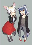 2girls :o absurdres alternate_costume alternate_hairstyle animal_ear_fluff animal_ears black_jacket boots brown_eyes brown_shirt capri_pants closed_mouth common_raccoon_(kemono_friends) fennec_(kemono_friends) fox_ears fox_girl fox_tail grey_background grey_footwear grey_pants hands_on_own_face hands_up head_tilt high_heel_boots high_heels highres jacket kemono_friends leather leather_jacket light_brown_hair long_sleeves multicolored_hair multiple_girls omucchan_(omutyuan) one_side_up open_clothes open_jacket open_mouth pants plaid plaid_pants pleated_skirt raccoon_ears raccoon_girl raccoon_tail red_footwear red_skirt shirt shoes silver_hair skirt smile striped striped_shirt striped_tail tail two-tone_hair unmoving_pattern white_hair white_shirt