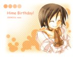 1girl 2004 birthday choker clapping dated final_fantasy final_fantasy_ix garnet_til_alexandros_xvii gloves kidani lowres polka_dot polka_dot_background short_hair smile solo title