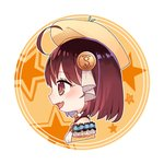 1girl :d ahoge atelier_(series) atelier_sophie bangs beret blush breasts brown_eyes brown_hair brown_hat commentary_request eyebrows_visible_through_hair fang frills hair_between_eyes hair_ornament hat highres looking_away open_mouth orange_background profile ryuuno6 shirt short_hair small_breasts smile solo sophie_neuenmuller star striped two-tone_background upper_body vertical_stripes white_background white_shirt
