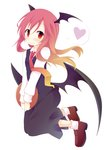1girl black_skirt black_vest blonde_hair blush bobby_socks brown_footwear demon_wings eyebrows_visible_through_hair folded_leg gradient_hair hair_between_eyes head_wings heart highres hinata_ichi holding holding_tray koakuma loafers long_hair long_sleeves looking_at_viewer loose_necktie multicolored_hair necktie pink_hair red_eyes red_neckwear shirt shoes simple_background skirt smile socks solo touhou tray v_arms very_long_hair vest waistcoat wavy_mouth white_background white_legwear white_shirt wings