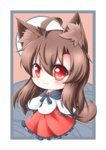 1girl ahoge animal_ears animated animated_gif blush brooch brown_hair chibi closed_eyes dress fang full_moon happy imaizumi_kagerou jewelry long_hair long_sleeves looking_at_viewer moon open_mouth red_eyes tail touhou wolf_ears wolf_tail