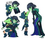 1boy 1girl artist_name bent_over black_gloves black_hair blush boots brooch cape crossed_arms dress fingerless_gloves gloves green_eyes green_skin grin hand_on_own_knee hood hug hug_from_behind jewelry kiss leaning_forward lifting_person mona_(shovel_knight) plague_doctor_mask plague_knight robe sachy_(sachichy) short_hair shovel_knight signature simple_background smile sweatdrop wavy_mouth white_background younger
