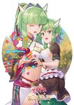 2girls ;d bangle bare_shoulders bracelet breasts cleavage commentary_request confetti criss-cross_halter crop_top detached_sleeves fang frills from_side fuuko_(sennen_sensou_aigis) green_eyes green_hair hair_intakes hair_ornament halter_top halterneck holding horns jewelry kibanda_gohan kuuko_(sennen_sensou_aigis) long_hair looking_at_viewer medium_breasts midriff multiple_girls navel one_eye_closed open_mouth party_popper ponytail ribbon sennen_sensou_aigis short_sleeves sidelocks smile standing stomach white_background wide_sleeves