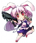 1girl animal_ears bunny_ears chibi dual_wielding gun handgun lavender_hair long_hair machine_pistol magpul_fmg_9 nanaroku_(fortress76) necktie pinky_out pistol red_eyes reisen_udongein_inaba socks solo springfield_xd submachine_gun touhou very_long_hair weapon