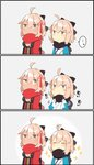 ... 2girls 3koma adjusting_scarf ahoge ahoge_wag beige_background bow breasts chibi cleavage cleavage_cutout closed_eyes comic commentary_request expressive_hair fate/grand_order fate_(series) hair_between_eyes hair_bow hair_ornament japanese_clothes long_sleeves multiple_girls okita_souji_(alter)_(fate) okita_souji_(fate) okita_souji_(fate)_(all) pekeko_(pepekekeko) pout scarf sleeveless sparkle spoken_ellipsis tan translation_request wide_sleeves yellow_eyes