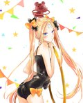 1girl abigail_williams_(fate/grand_order) artist_request ass bandaid_on_forehead bangs black_bow black_hat black_leotard blonde_hair blue_eyes blush bow closed_mouth crossed_bandaids fate/grand_order fate_(series) forehead hair_bow hat highres hips hoop hula_hoop leotard long_hair looking_at_viewer orange_bow parted_bangs solo star stuffed_animal stuffed_toy teddy_bear twintails very_long_hair white_background
