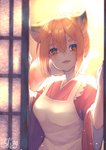 1girl :d animal_ear_fluff animal_ears apron backlighting bangs blurry blurry_background blush brown_hair chita_(ketchup) commentary_request depth_of_field eyebrows_visible_through_hair fangs fox_ears fox_girl fox_tail hair_between_eyes hands_up head_tilt highres japanese_clothes kimono open_door open_mouth original pink_kimono red_eyes short_eyebrows short_sleeves shouji sidelocks signature sliding_doors smile solo tail tail_raised thick_eyebrows upper_body white_apron wide_sleeves