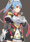 1girl android blush breasts hair_ornament hana_(xenoblade) hana_jk long_hair maid_headdress orange_eyes purple_hair robot_joints short_hair simple_background smile solo sou_(pale_1080) spoilers twintails xenoblade_(series) xenoblade_2