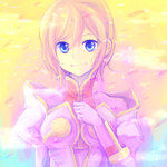 1girl blue_eyes coat estellise_sidos_heurassein gloves pink_hair sagami_rina short_hair smile solo tales_of_(series) tales_of_vesperia yellow_background