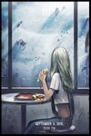 1girl apocalypse bayashiko black_border border commentary dated english_commentary food from_side grey_hair hamburger highres holding holding_food long_hair looking_away original overalls science_fiction shirt short_sleeves sitting solo tray ufo white_shirt window