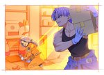 1boy 1girl belt black_shirt blue_eyes box bulma_(future) capsule_corp carrying carrying_over_shoulder clothes_around_waist dragon_ball dragon_ball_z drill gloves ground_vehicle hammer holding holding_wrench indoors jacket kneeling libeuo_(liveolivel) light_rays long_hair looking_back mother_and_son muscle open_mouth ponytail purple_hair shelf shirt sleeveless sleeveless_shirt sunlight sunset trunks_(future)_(dragon_ball) white_gloves wrench