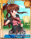 brown_hair card_(medium) character_name doruji kite little_busters! long_hair miyoshi_yun natsume_rin ponytail red_eyes school_uniform
