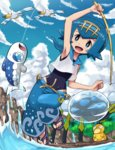 1girl :d araquanid arm_up armpits baggy_pants bare_arms blue_eyes blue_hair blue_sky cloud cloudy_sky covered_navel day dewpider feet fishing_rod full_body gen_1_pokemon gen_3_pokemon gen_7_pokemon hairband one-piece_swimsuit open_mouth outdoors pants pokemoa pokemon pokemon_(creature) pokemon_(game) pokemon_sm psyduck ribbon-trimmed_pants ribbon_trim shirt short_hair sky sleeveless sleeveless_shirt slippers smile suiren_(pokemon) swimsuit swimsuit_under_clothes trial_captain water wingull wishiwashi