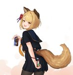 1girl :3 :d alternate_costume animal_ears bangs black_legwear black_skirt blonde_hair blush braid brown_eyes can coffee commentary_request dog_ears dog_tail erune eyebrows_visible_through_hair flower granblue_fantasy hair_flower hair_ornament highres holding holding_can looking_at_viewer open_mouth pantyhose parted_bangs pleated_skirt red_flower sailor_collar school_uniform serafuku shk955 short_hair skirt smile solo standing tail vajra_(granblue_fantasy) white_background yellow_eyes
