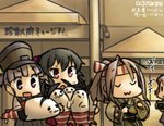 4girls :3 :d :o aoba_(kantai_collection) arm_warmers black_hair camera camouflage closed_eyes commentary_request evening hachimaki hamu_koutarou hat headband high_ponytail japanese_clothes kantai_collection light_brown_hair long_hair multiple_girls muneate ooshio_(kantai_collection) open_mouth pink_hair ponytail purple_eyes purple_hair red_eyes school_uniform scrunchie serafuku shimakaze_(kantai_collection) shimakaze_(seal) shirt short_hair short_sleeves short_twintails skirt smile solid_oval_eyes suspender_skirt suspenders sweat twintails u_u white_shirt yahagi_(kantai_collection) zui_zui_dance zuihou_(kantai_collection)