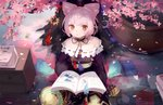 .l.l 1girl :< animal animal_ears atelier_(series) atelier_sophie bare_shoulders blush book brown_eyes chinese_commentary collarbone commentary_request cornelia_(atelier) crescent drawer dress flower frog highres long_hair looking_at_viewer off-shoulder_dress off_shoulder open_book parted_lips pink_flower pink_hair purple_dress shallow_water short_hair sitting solo spring_(season) tree triangle_mouth water