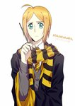 1boy ahoge alternate_costume bangs black_cape blonde_hair cape character_name green_eyes grey_sweater harry_potter holding holding_wand long_sleeves looking_at_viewer male_focus necktie parted_bangs rena_(renasight) scarf shiny shiny_hair short_hair simple_background smile solo striped striped_neckwear striped_scarf sweater wand white_background yellow_neckwear zetsuen_no_tempest