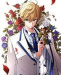 1boy arthur_pendragon_(fate) blue_flower blue_neckwear blue_rose coat commentary_request fate/grand_order fate/prototype fate_(series) floral_arch flower formal green_eyes hair_between_eyes highres holding holding_flower looking_at_viewer male_focus necktie osanai purple_flower purple_rose red_flower red_rose rose shadow smile solo striped suit vertical_stripes vest white_flower white_rose white_rose_(fate/grand_order) white_suit