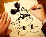 artist_name disney drawing gloves hands mickey_mouse mouse open_mouth pencil ponze solo_focus tail