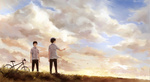 2boys ao_no_exorcist bicycle black_hair blue_eyes brothers cloud glasses grass ground_vehicle highres hill male_focus mole multiple_boys okumura_rin okumura_yukio scenery seal_(seal1102) siblings sky standing twilight wind