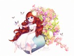 1girl barefoot butterfly dress flower hair_flower hair_ornament highres long_hair ng_(kimjae737) original purple_eyes red_hair short_sleeves sitting smile solo very_long_hair