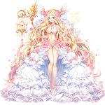 1girl 2017 absurdly_long_hair angel angel_wings artist_name blonde_hair blue_eyes blush borrowed_character breasts butterfly character_request cleavage collarbone commentary copyright_request eyebrows_visible_through_hair facial_mark floral_print flower forehead_mark full_body gem hair_flower hair_ornament head_wings hieihirai holding holding_staff lace large_breasts long_hair long_legs long_skirt looking_at_viewer navel original parted_lips petals pink_rose revealing_clothes rose rose_petals rose_print shoes showgirl_skirt simple_background skirt smile solo staff standing thigh_gap very_long_hair wavy_hair white_background white_shoes white_skirt white_wings winged_shoes wings wristband