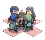 1girl 4boys alm_(fire_emblem) armor blue_hair chibi commentary_request dark_persona evil_smile falchion_(fire_emblem) fire_emblem fire_emblem:_kakusei fire_emblem:_monshou_no_nazo fire_emblem_echoes:_mou_hitori_no_eiyuuou fire_emblem_heroes gameplay_mechanics gimurei gloves green_hair highres holding holding_sword holding_weapon krom long_hair lucina male_my_unit_(fire_emblem:_kakusei) mamkute marth multiple_boys my_unit_(fire_emblem:_kakusei) okuma_yuugo red_eyes robe short_hair smile surrounded sword weapon weapon_connection white_hair ||_||