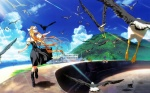 1girl air aratani_tomoe bird blonde_hair cat crow day dress highres kamio_misuzu landscape long_hair ocean scenery school_uniform seagull solo sora_(air) wallpaper wind