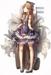 1girl artist_name bag bare_legs bare_shoulders bkyuuc black_bow black_footwear black_ribbon blonde_hair blue_bow blue_dress blush bow breasts brown_eyes commentary_request dated dress eyebrows_visible_through_hair flower full_body hair_bow highres lolita_fashion long_hair looking_at_viewer original ribbon shoes small_breasts solo white_bow white_flower